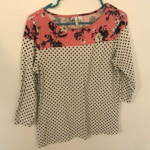Elle Polka Dot and Floral 1/2 length sleeve top